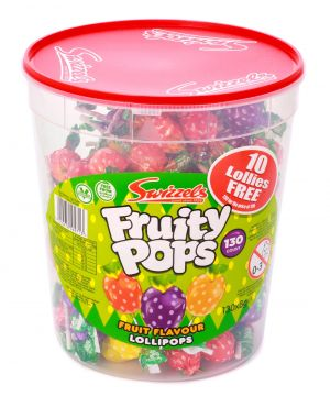 Tub of 120 mixed flavour Fruity Pops