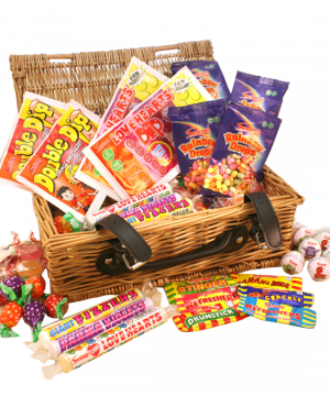 Vegan and Vegetarian Retro Sweet Wicker Hamper 1.1kg