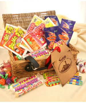 Vegan and Vegetarian Personalised Retro Sweet Wicker Hamper 1.1kg