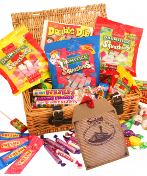 Personalised Retro Wicker Sweet Hamper 1.75kg
