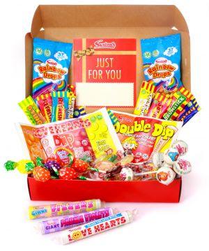 Vegan and Vegetarian Personalised Retro Red Sweet Hamper 690g