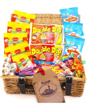 Personalised Retro Wicker Sweet Hamper 970g