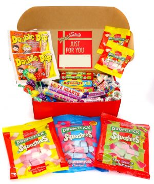 Personalised Retro Sweet Premium Red Hamper 1.75kg