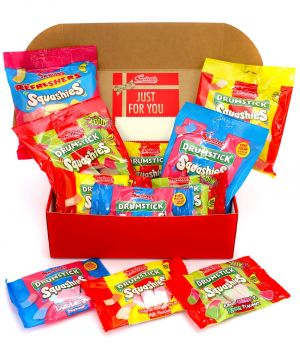Personalised Squashies Premium Red Sweet Hamper 1kg