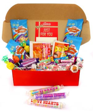 Vegan and Vegetarian Personalised Retro Premium Red Sweet Hamper 1.1kg