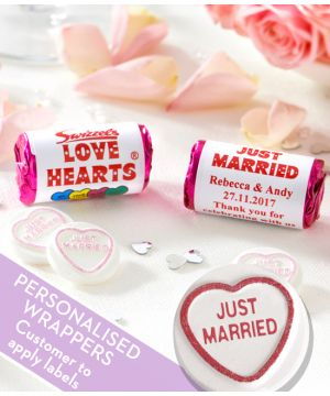 JUST MARRIED Love Hearts Sweets With Personalised Wrappers