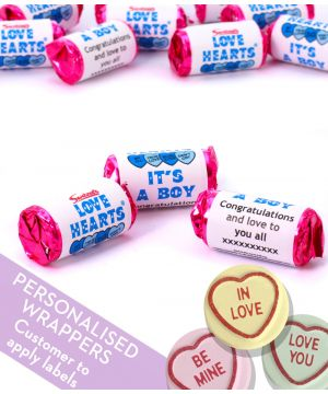 Personalised Love Hearts Gender Reveal Party Sweets - BOY
