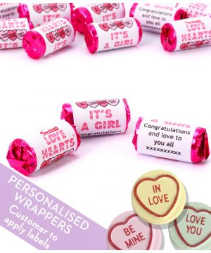 Personalised Love Hearts Gender Reveal Party Sweets - GIRL