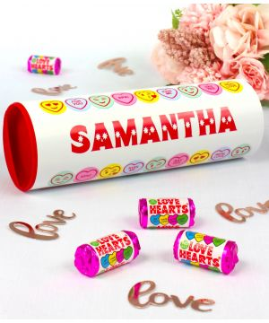 Personalised Love Hearts Gift Tube